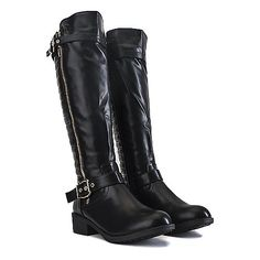 Buy Women's Knee-High Pocket Boot Justina-02 S Black Online. Find more women's knee-high, low-heel, and leather boots at ShiekhShoes.com.