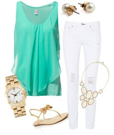"""Mint & Hint Gold"" by madisonelizabeth-avery on Polyvore Clothes Casual Outift for • teens • movies • girls • women •. summer • fall • spring • winter • outfit ideas • dates • parties Polyvore :) Catalina Christiano"