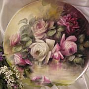 """ROMANTIC VICTORIAN ROSES"" Absolutely Stunning Large 16"" Antique Hand Painted Limoges France Charger Plaque Tray Plate Vintage Victorian Hei..."