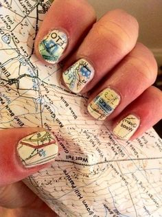 Nail Art / 1. Paint nails white or cream 2. Soak nails in alcohol for five minutes 3. Press nails to map and hold 4. Paint with clear top coat immediately after