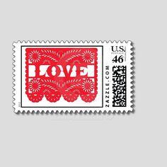 Papel Picado Custom Postage Stamps. $10.00, via Etsy.