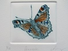 Peacock Butterfly drypoint print. Hand by LynnBaileyPrintmaker, £33.00