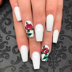 Trendy White Acrylic Nails Designs ★ See more: https://naildesignsjournal.com/trendy-white-acrylic-nails/ #nails Rose Nail Design, Rose Nail Art, Acrylic Nails With Design, Coffin Nail Designs, Acrylic Nails Coffin Matte, White Coffin Nails, Shapes Of Acrylic Nails, White Nails With Design, Diy Rose Nails