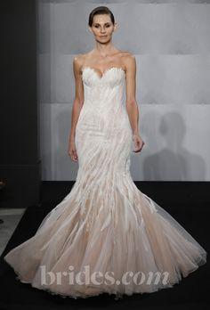 Brides: Mark Zunino for Kleinfeld - 2013. Style MZBF61, strapless ivory and blush mermaid wedding dress with a sweetheart neckline, Mark Zunino for Kleinfeld