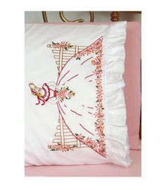 """Stamped Lace Edge Pillowcase 30""""X20"""" 2/Pkg-Fence Lady at Joann.com"""