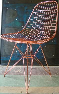 Copper plated Eames wire chair for Herman Miller Copper Interior, Home Interior, Interior Design, Modern Chairs, Modern Furniture, Furniture Design, Wire Chair, Desk Chair, Eames Chairs