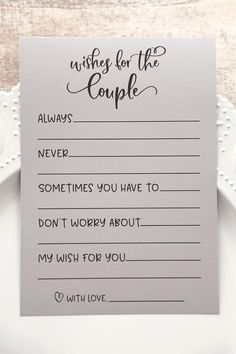 These rustic Grey Wishes for the Couple cards are a fun wedding shower activity to add to your next bridal shower or wedding shower. Instruct family and friends to fill these cards out with wishes, ad Bridal Shower Planning, Wedding Planning, Bridal Shower Checklist, Printable Bridal Shower Games, Bridal Shower Advice, Wedding Checklists, Wedding Shower Activities, Cute Wedding Ideas, Summer Wedding Ideas