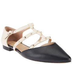 Sole Society T-strap Pointed Toe Flats w/ Studs - Susie
