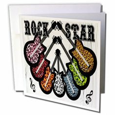 gc_44965_2 Lee Hiller Designs Guitars - Guitars Rock Star Colorful Leopard Print on White - Greeting Cards-12 Greeting Cards with envelopes by Lee Hiller #Photography and Designs