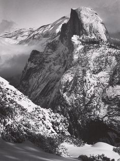 1935 Half Dome, Winter, from Glacier Point, Yosemite National Park By Ansel Adams Black And White Landscape, Black White Art, Sierra Nevada, Ansel Adams Photography, Urban Photography, Color Photography, Photography Ideas, Yosemite National Park, National Parks
