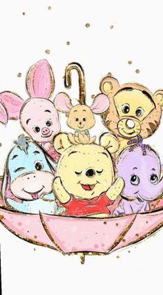 Cute Drawings Disney Winnie The Pooh Kawaii Disney, Disney Phone Wallpaper, Cartoon Wallpaper Iphone, Cute Cartoon Wallpapers, Baby Wallpaper, Trendy Wallpaper, Mickey Mouse Wallpaper, Perfect Wallpaper, Iphone Backgrounds