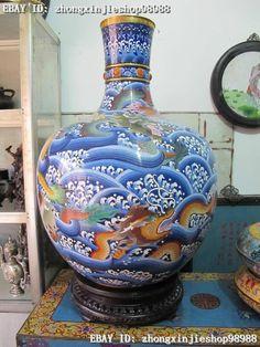"""29""""Chinese Royal Copper handwork cloisonne Enamel Color Dragon King pot Vase"""