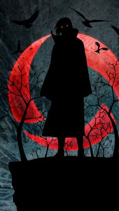 The silhouette of Itachi Uchiha while standing on a cliff. The sharingan logo looms in the background as he stares menacingly down.