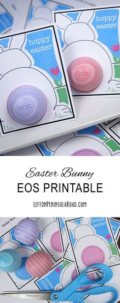 Printable Hoppy Easter Bunny Cards for EOS lip balm. Easy last-minute gift or basket filler. gifts for daycare teachers Print It: Hoppy Easter Bunny EOS Cards Eos Lip Balm, Baby's First Easter Basket, Easter Baskets, Hoppy Easter, Easter Bunny, Easter Eggs, Easter Table, Diy Spring, Spring Crafts