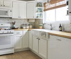 Supreme Kitchen Remodeling Choosing Your New Kitchen Countertops Ideas. Mind Blowing Kitchen Remodeling Choosing Your New Kitchen Countertops Ideas. White Kitchen Appliances, Grey Kitchens, White Kitchen Cabinets, Home Kitchens, Kitchen White, Grey Cabinets, Farmhouse Cabinets, Outdoor Kitchen Countertops, Kitchen Countertop Materials