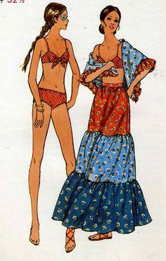 Vintage  70s Butterick 6267 UNCUT Misses Bikini Peasant by RomasMaison