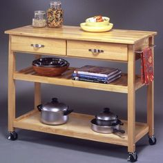 $250 Solid Wood Top Kitchen Island Cart