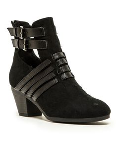 Another great find on #zulily! Black Rolling Bootie by Qupid #zulilyfinds