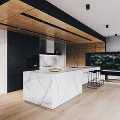 Modern Home Decor Kitchen Kitchen Room Design, Modern Kitchen Design, Interior Design Kitchen, Modern Kitchen Cabinets, Interior Modern, Kitchen Island, Küchen Design, Layout Design, House Design