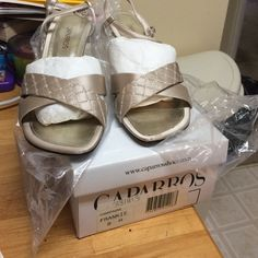 Lightly used caparros satin champagne dressy shoes Shoes in pretty good shape, heels are in great condition from top to bottom, heel has a lot more dancing to go! Little sequins on the front - very pretty! Caparros Shoes