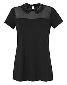 Black - Embellished Jewel Collar Top