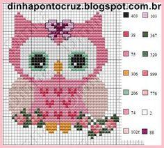 Coruja-linda-para-menina-Ponto-Cruz-500x400 66 Gráficos de corujas para bordar em Ponto Cruz