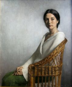 Elena Arcangeli, born in Florence in 1972, La Sedia di Vimini (The Wicker Chair), Oil on canvas