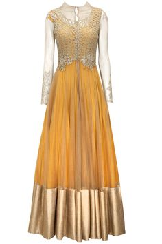 Mustard anarkali with gold zardozi and pearl embroidered jacket available only at Pernia's Pop-Up Shop.