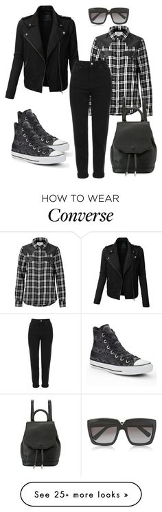 """""""Rebel"""" by dolenka on Polyvore featuring LE3NO, Current/Elliott, Topshop, Converse, Valentino and rag & bone"""