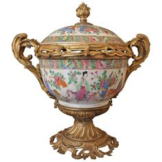 19th Century Chinese Cantonese Porcelain Boll with Lead Bronze Mounted | From a unique collection of antique and modern vases and vessels at https://www.1stdibs.com/furniture/decorative-objects/vases-vessels/