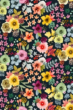 Spring Floral at Night by Angel Gerardo - Vibrant hand illustrated floral pattern on fabric, wallpaper, and gift wrap.  Beautiful vibrant floral pattern in pink, mauve, green, sky blue, and yellow on a black background.
