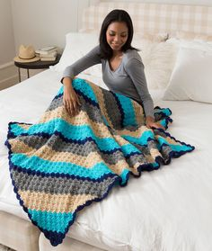 Corner-to-Corner Crochet Throw Free Pattern in Red Heart Yarns