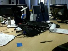If you don't keep your desk tidy in our office then you will find this in the morning Office Team, Office Phone, Desk Tidy, Landline Phone, Organized Desk