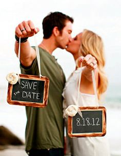 Save the date + chalkboards.