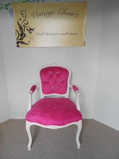 Upcycled boudior chair, vibrant pink with blingy buttons, very chic!