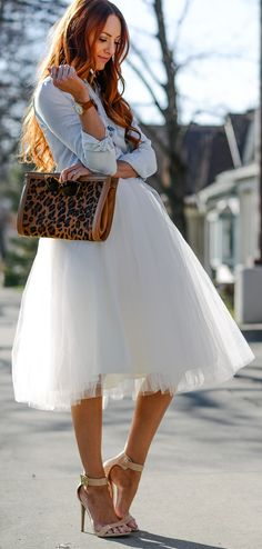 Washed Denim And Ivory Tulle Outfit Idea