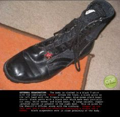 A picture of one of Dylan Klebold's combat boots he wore in the shooting of Columbine high school in Columbine High School Massacre, Colorado, My Favourite Teacher, Natural Born Killers, Forensic Psychology, Rest, Natural Selection, My Life Style, School Shootings