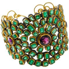Judy Geib Colombian Emerald & Amethyst Mosaic Cuff ($29,760) ❤ liked on Polyvore