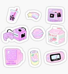 some cute aesthetic stickers to use on your electronics, planner, scrap-booking, letters or whatever! Korean Stickers, Anime Stickers, Kawaii Stickers, Cool Stickers, Laptop Stickers, Journal Stickers, Printable Planner Stickers, Printables, Kawaii Drawings