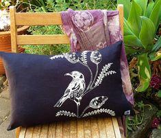 Bird cushion cover Linen bird with banksia black & white Black And White Design, Black White, Cute Australian Animals, Natalie Green, Kangaroo Paw, Black Linen, Screen Printing, Cushions, Throw Pillows