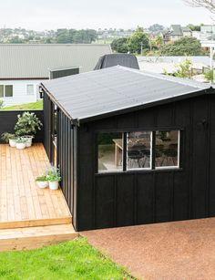 Garage Office, Old Garage, Garage Shed, Garage Workshop, Tin Shed, Mobile Home Makeovers, Converted Garage, Backyard Office, Garage Renovation
