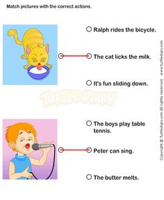 Match Pictures of Cat and Boy with Correct Actions Worksheet