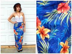 1990s Vintage Blue Hawaiian Floral Wrap Skirt by Enchantedfuture