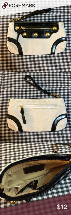 "Maria Canvas Clutch/Wristlet Never been used. Six pockets. Gold hardware. The wrist strap is removable. Width is 9"" and height is 5"". Purchased on Handbag Heaven website. No trades. Bags Clutches & Wristlets"