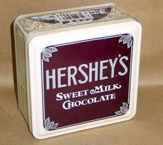 "VINTAGE 1990 HERSHEY'S Sweet MILK CHOCOLATE 6"" Square Tin 1912 ED #1"