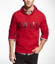 GRAPHIC FLEECE HOODIE at Express