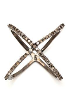 Champagne Diamond X Ring