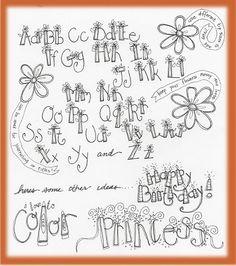 hand lettering alphabet - flowers - good for birthday cards Hand Lettering Alphabet, Doodle Lettering, Creative Lettering, Lettering Styles, Doodle Fonts, Lettering Ideas, Graffiti Alphabet, Wall Lettering, Alphabet Art