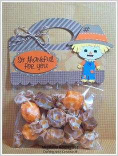 Crafting with Creative M with a Thanksgiving treat bag using the cute Little Scarecrow and the Handled Treat Bag Topper Cutting Files from PPPR.