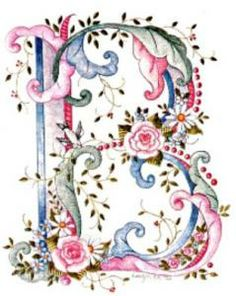 pink blue flower letter B Fancy Letters, Floral Letters, Monogram Letters, Embroidery Alphabet, Ribbon Embroidery, Free Machine Embroidery Designs, Embroidery Patterns, Graphic 45, Decoupage